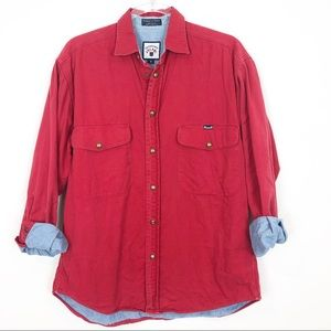 FACONNABLE RED & CHAMBRAY SNAP FRONT SHIRT